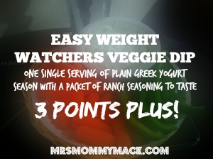 EASY WEIGHT WATCHERS VEGGIE DIP One single serving of plain Greek Yogurt Season with a packet of ranch seasoning to taste  3 Points Plus! | mrsmommymack.com